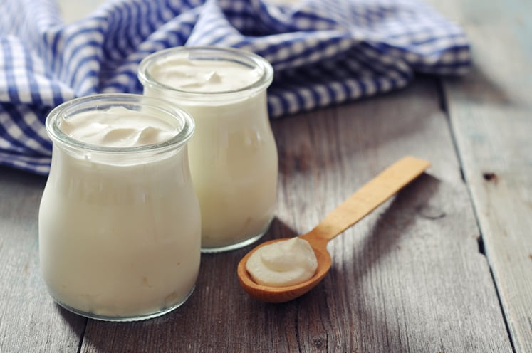 Greek yogurt in a glass jars